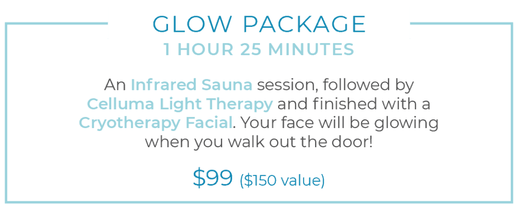 Glow Package: Infrared Sauna, Celluma Light Therapy and Cryotherapy Facial for $99 valued at $150